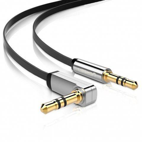 UGREEN Plat Câble Jack Auxiliaire Audio Stéréo 3.5mm Câble Audio Jack Coudé 90 Degrés pour iPhone, iPad, iPod, Smartphone, Ta