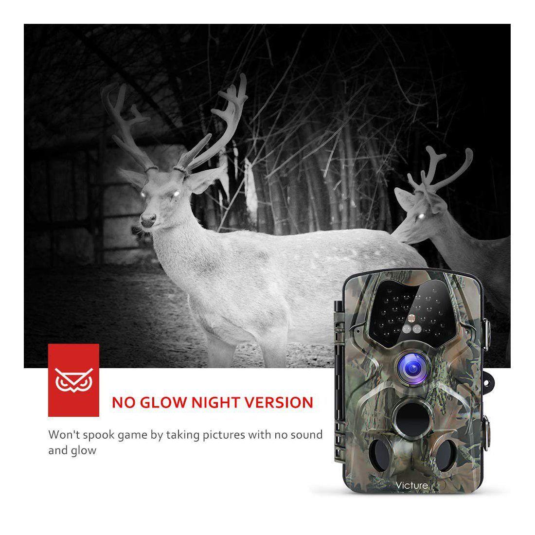 Victure Caméra de Chasse 12Mp 1080P Détecteur de Mouvement Infrarouge de Vision Nocturne de Grand Angle 120° Étanche IP66 Piè