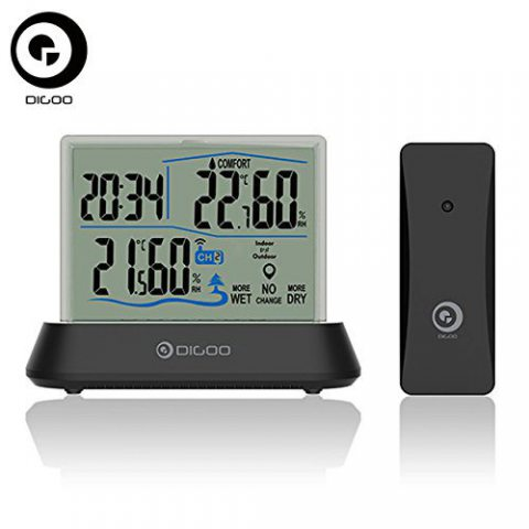 Digoo DG-TH1001 Wireless Transparent Screen Humidity Temperature digital In&Outdoor Hygrometer Thermometer Indicator Sensor C