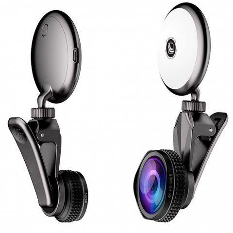 Jaetech House Téléphone kit Objectif avec Selfie Anneau Lumière 3 en 1 Caméra Lentille Universel (Noir)