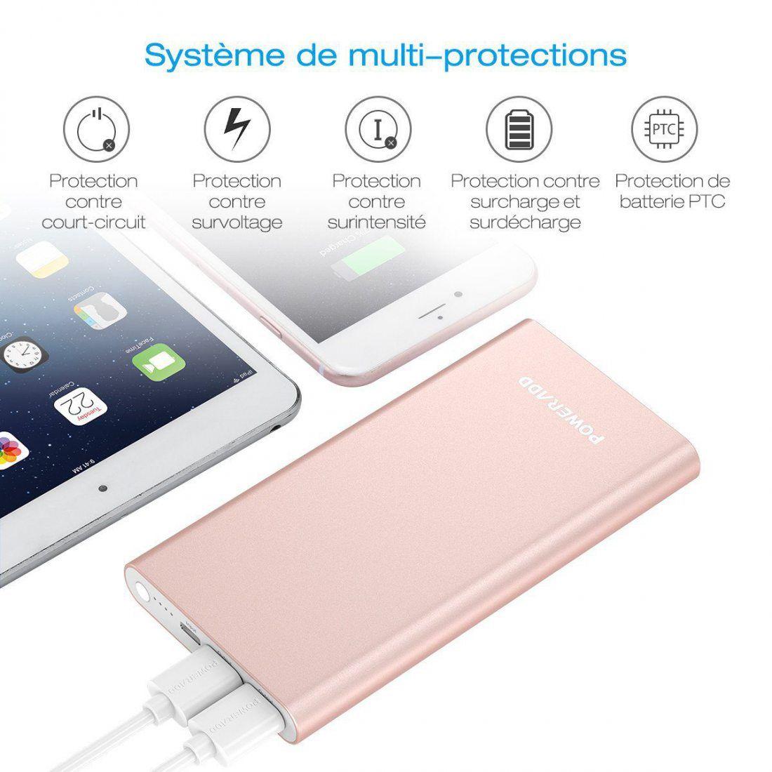 POWERADD Pilot 4GS 12000mAh Batterie Externe Portable Grande Capacité avec Deux USB (3A+3A) Charge Rapide pour Iphone 6/6plus