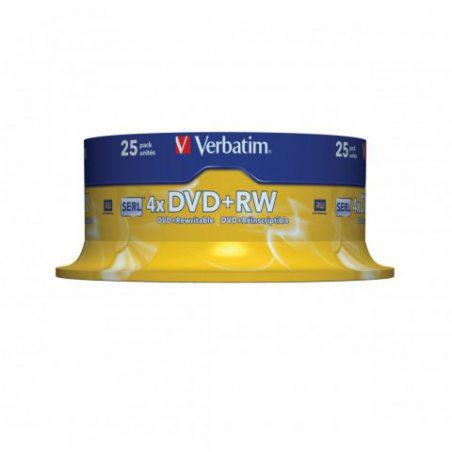 Verbatim 43489 4.7GB 4x Matt Silver DVD+RW - 25 Pack Spindle