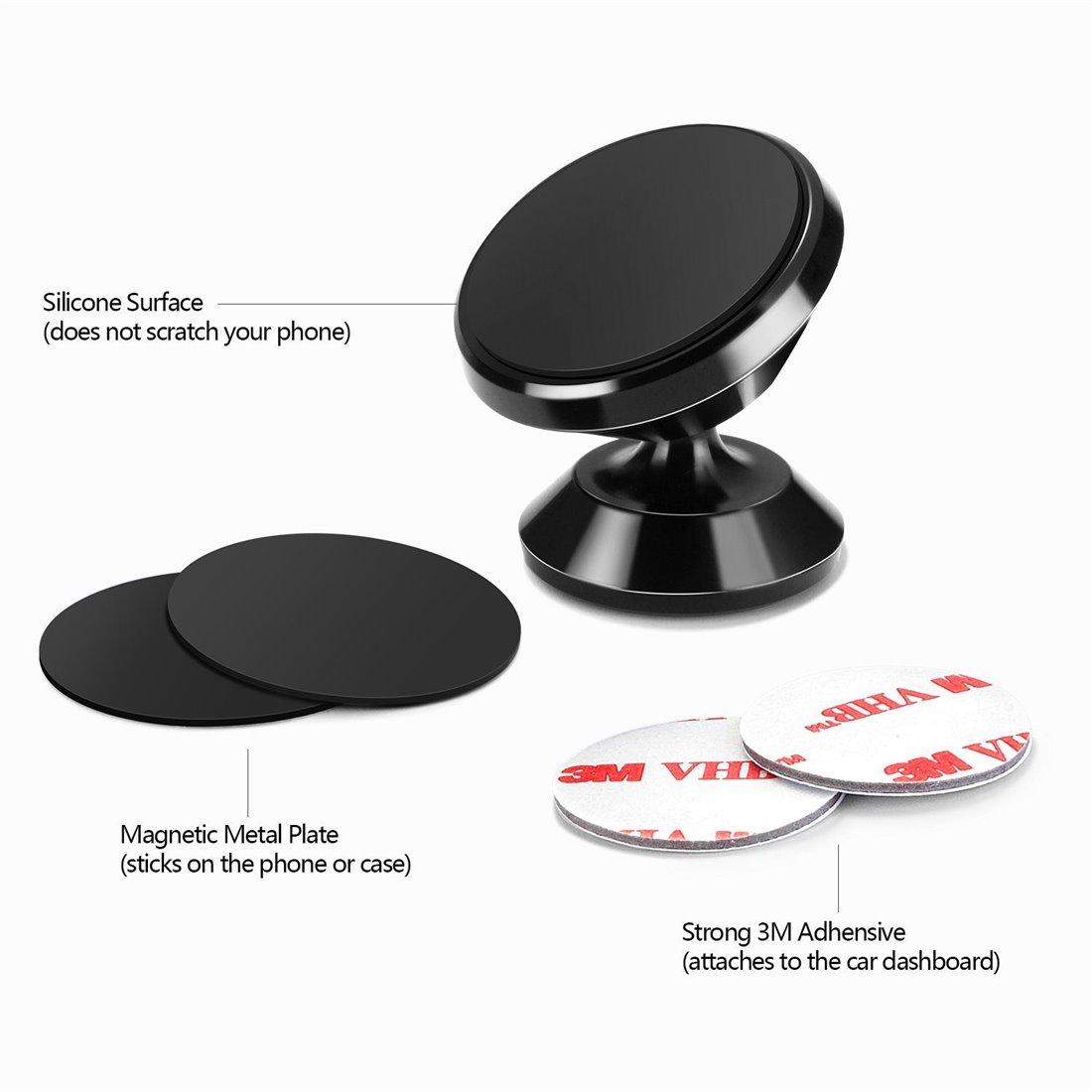 Support Voiture, HUMIXX Support Téléphone Voiture Universel Magnétique Avec la Rotation à 360 Degrés Compatible Avec Tous les