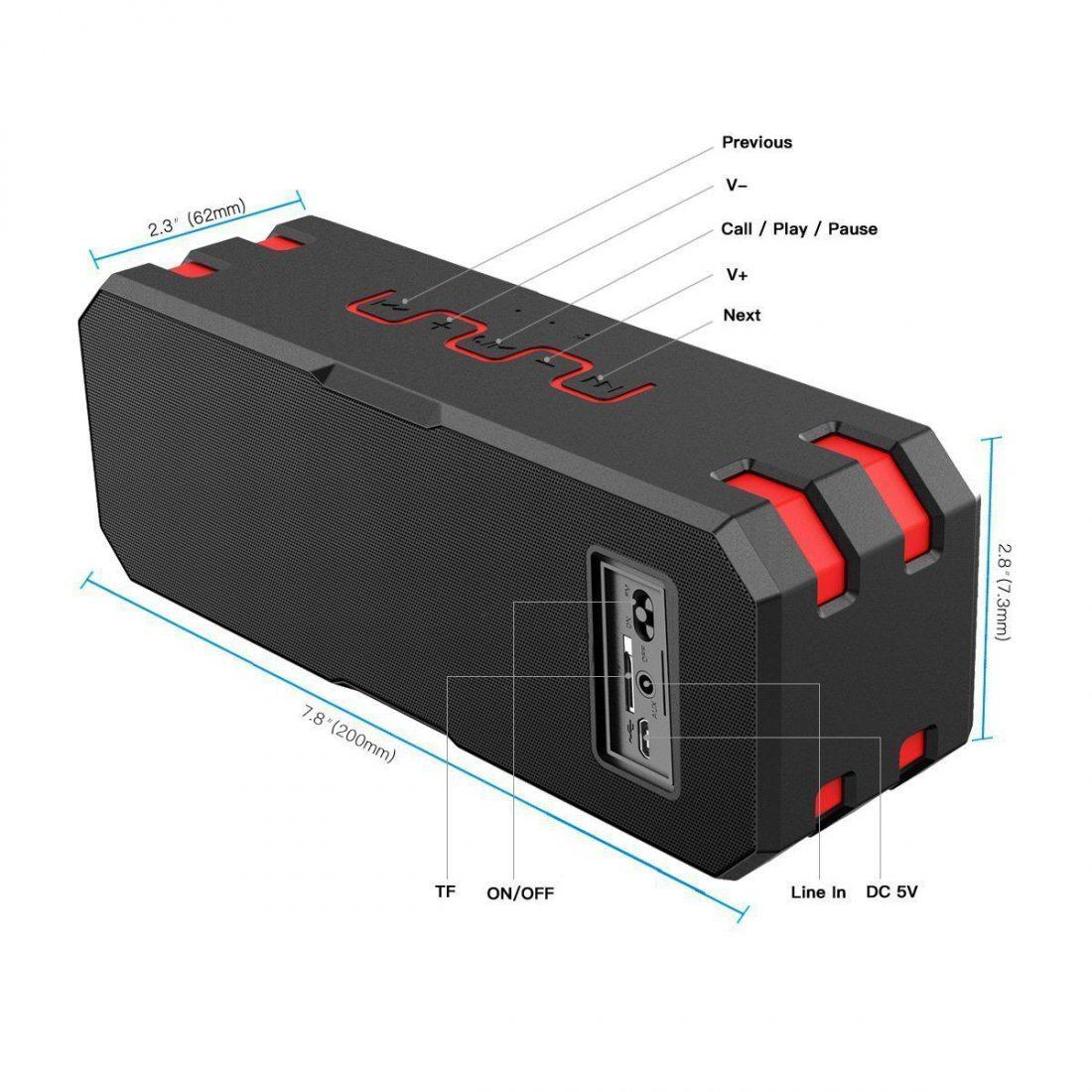 Enceinte Bluetooth, Wirezoll 20W Stéréo Sans Fil Portable Caisson Bluetooth 4.1