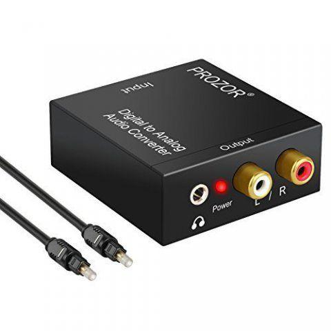 Adaptateur de convertisseur audio R/L avec câble optique Prozor DAC numérique SPDIF TosLink vers analogique, PS3 Xbox HD DVD
