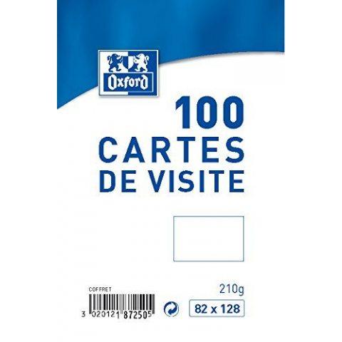 Oxford Coffret de 100 Cartes de visite 8,2 x 12,8 cm Blanc
