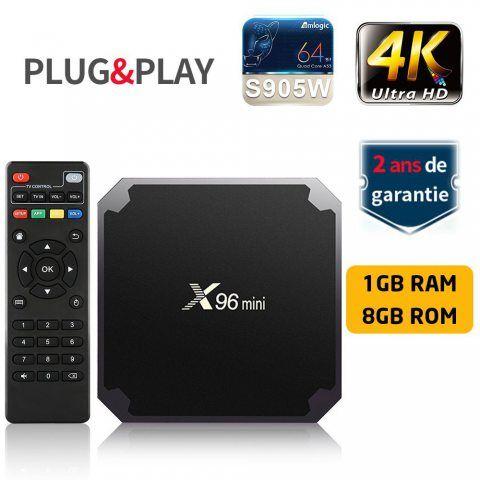 SUNNZO X96 Mini Lecteur multimédia de diffusion en continu Android 7.1/boîte TV 4K avec Amlogic S905W quad-core chipset, 64 B