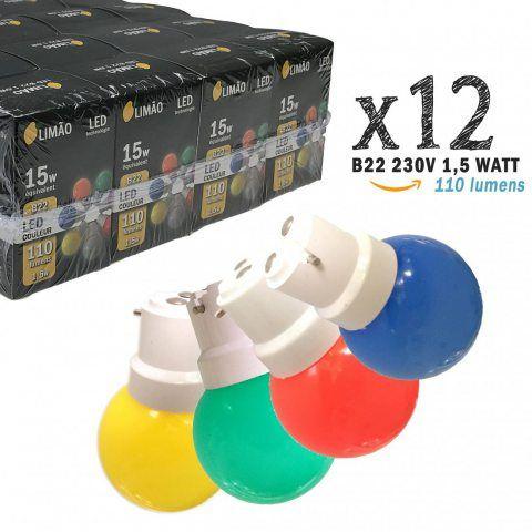 Limão - Lot de 12 ampoules LED B22 1,5W - 110 Lumens - Rouges, Bleues, Vertes et Jaunes incassables (équivalent 15W) pour Gui