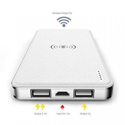 Heliomax Blanc 10000mah batterie externe 1A + 2.1A avec chargeur sans fil Qi induction pour Galaxy Note 8 Note 5 Galaxy S8 S8