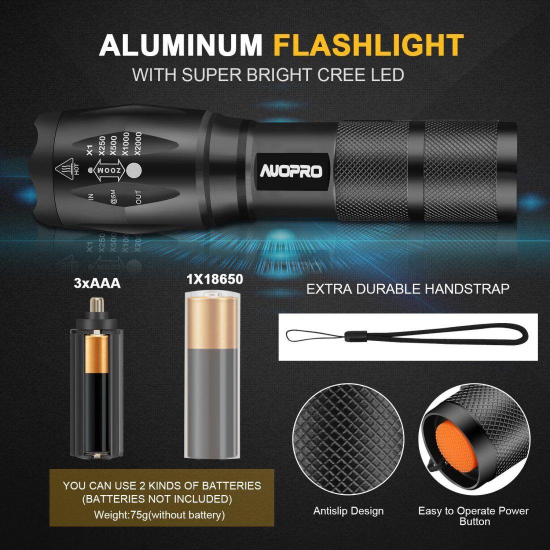 AUOPRO 800LM Torche 4 Pack Lampe Torche LED Puissante Militaire Lampe de Poche Tactique avec Zoom Ajustable & 5 Modes D'éclai