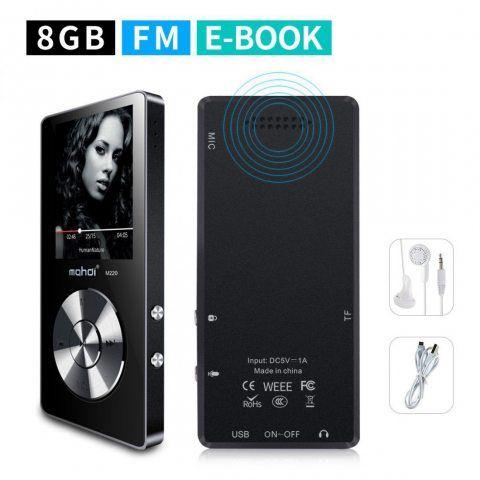 Mymahdi 8 Go MP3 Portable (extensible jusqu'à 128 Go),de musique/une touche de Enregistreur vocal/radio FM 70 heures de avec