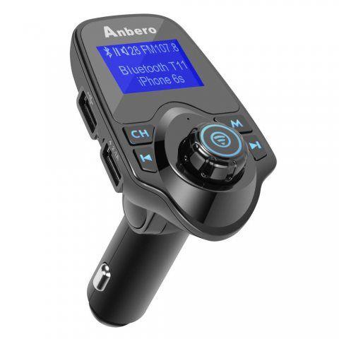 Anbero Transmetteur FM Kit Main Libre Voiture Bluetooth Musique MP3 Player avec 3,5mm Audio Port, Lecteur de Cartes MicroSD,