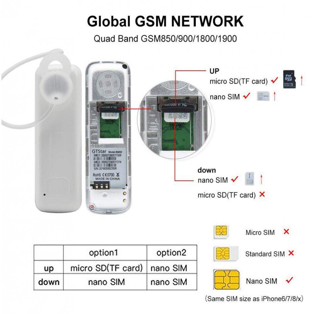 codomoxo® Mini téléphone Portable GTStar BM50 Mini téléphone Emplacement Carte SIM,Mini téléphone Portable oreillette Mains L