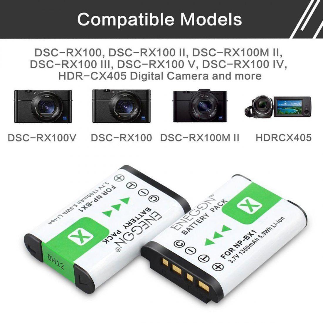 NP-BX1 ENEGON Batterie de Rechange (2 Paquets) et Chargeur Double Rapide pour Sony NP-BX1, NP-BX1 / M8 et Sony Cyber-Shot DSC
