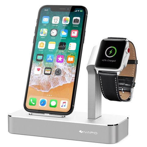 iVAPO Station pour Apple Watch iPhone 2 en 1 Aluminum Support pour Apple Watch Series 3/Apple Watch Series 2/Apple Watch Seri
