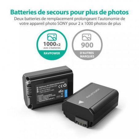 Sony NP-FW50 Batterie de Rechange 1100mAh Lot de 2 RAVPower Batteries de Remplacement pour Appareil Photos Compatible à l'Ori