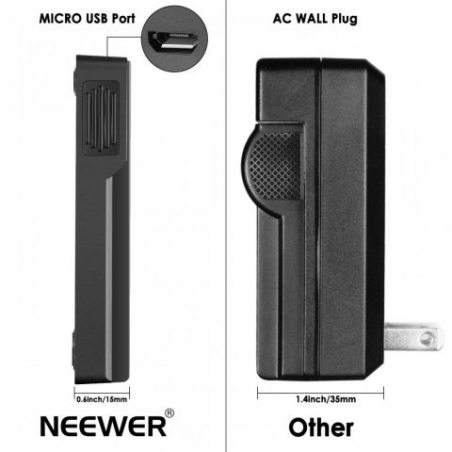 Neewer® NP-F550/F750/F960/F970 Replacement Micro USB Batterie Chargeur pour NP-FM50/FM70/FM90,QM71D,91D, NP-F500H/F55H