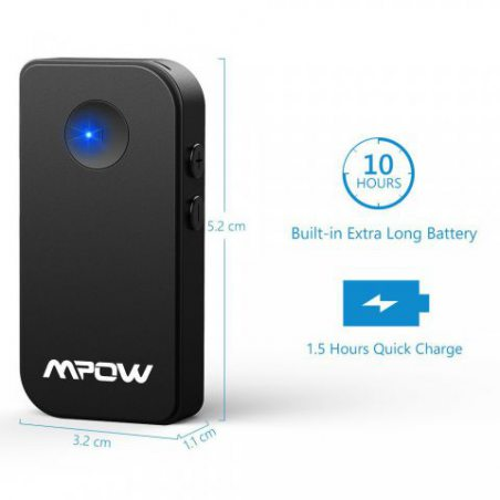 Mpow Récepteur Bluetooth 4.1 Adaptateur Audio sans Fil Kit Mains Libres Voiture Deux Connexions Adaptateur sans Fil avec Micr