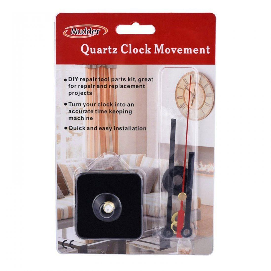 DIY horloge à quartz Mecanisme Horloge Kit de réparation outil Pièces avec Main Noire, 3/25 Pouces d'épaisseur Dial maximum,