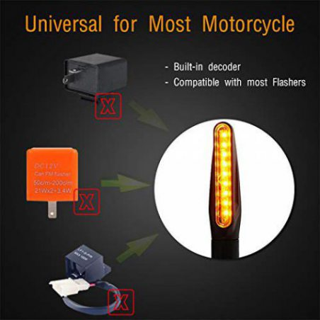 FEZZ Moto LED Clignotants Indicateurs Universel Eclairage Ecoulement 12 Ampoules pour Harley Scooter Suzuki Yamaha Honda Ambr