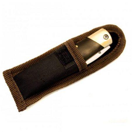 Outdoor Saxx-Mini couteau pliant - Sous forme de porte-clés - Avec mousqueton - 11cm - Manche en bois - Sac avec passant d