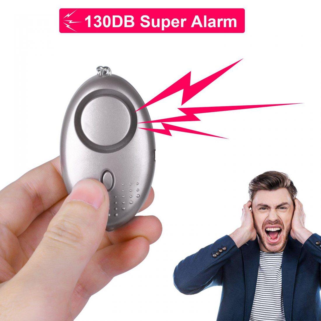Aboat Alarme Personnelle, 5pcs Alarme d'Urgence Anti-agression Antivol 130db Porte Clé avec Torche Alarme de Sécurité pour le