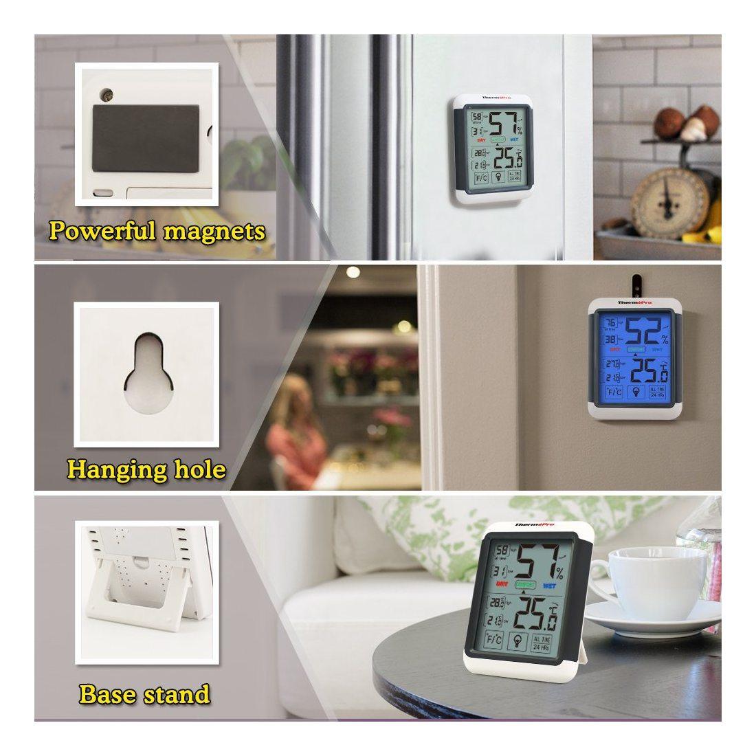 ThermoPro TP-55 Thermomètre Hygromètre Numérique, Rétroéclairage Bleu, Grand Écran LCD Tactile, Moniteur Température Humidité