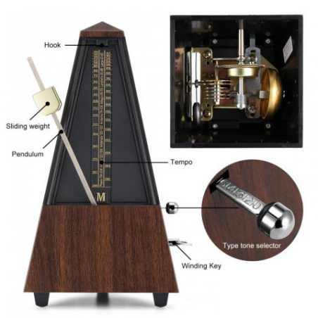 Donner Métronome Mécanique Traditionnel avec Sonnerie pour Piano, Guitare, Tambour, Violon et d'autres Instruments de Musique