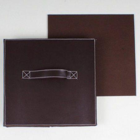 Cube pliable en simili cuir marron