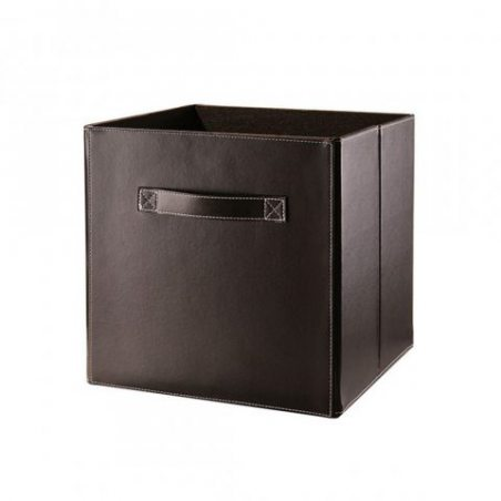Cube pliable en simili cuir marron