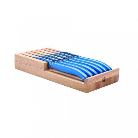 Laguiole - Support de 6 Couteaux de Table Couleur Bleu anodisé - Lame en Titane, Manche en Aluminium compressé - Bleu anodisé