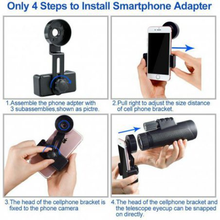 12x50 Télescope monoculaire, Vision Nocturne monoculaire Haute Puissance avec Clip de téléphone et trépied pour téléphone Por
