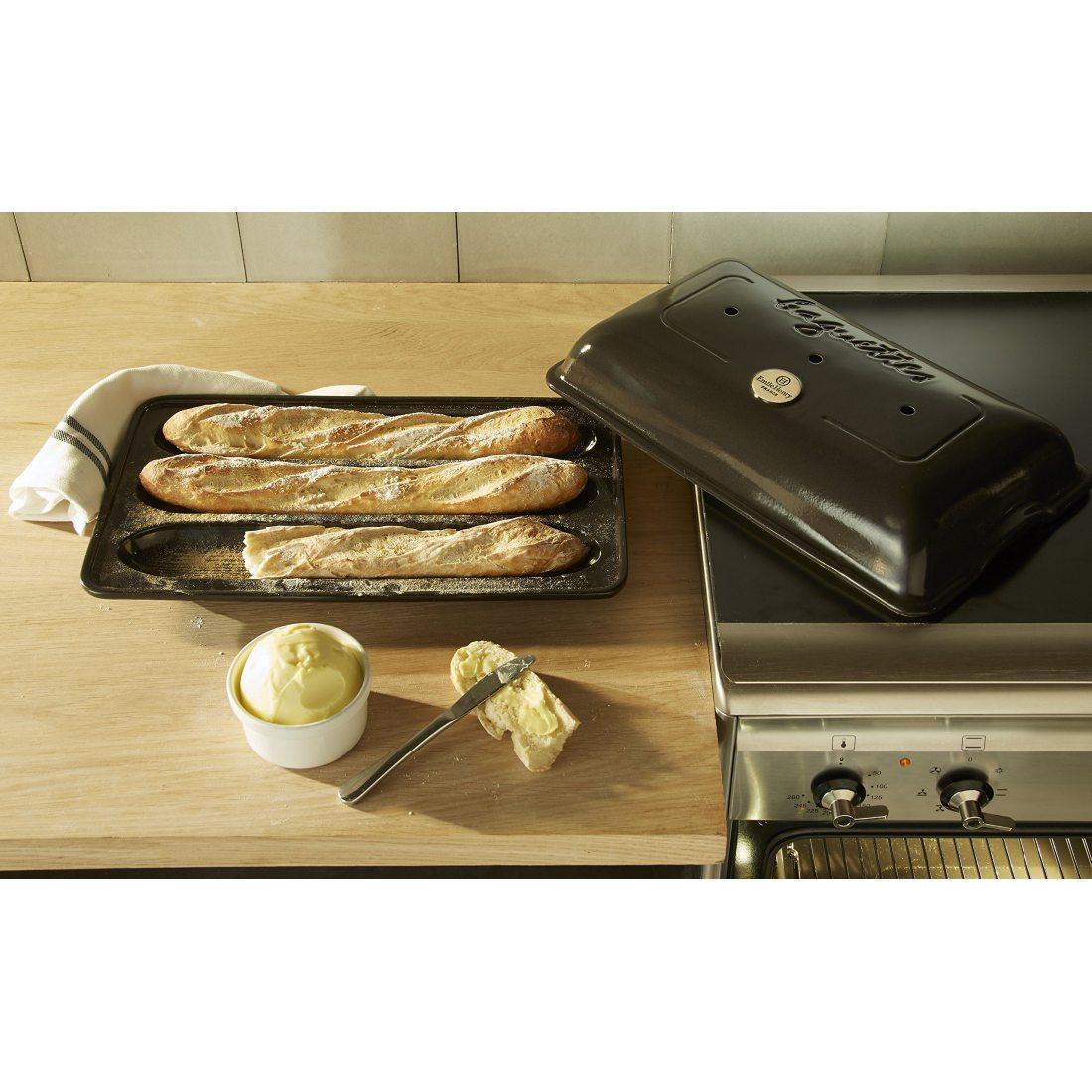 Emile Henry Eh799506 Moule à Baguettes Céramique Noir Fusain 39 X 24 X 8 cm