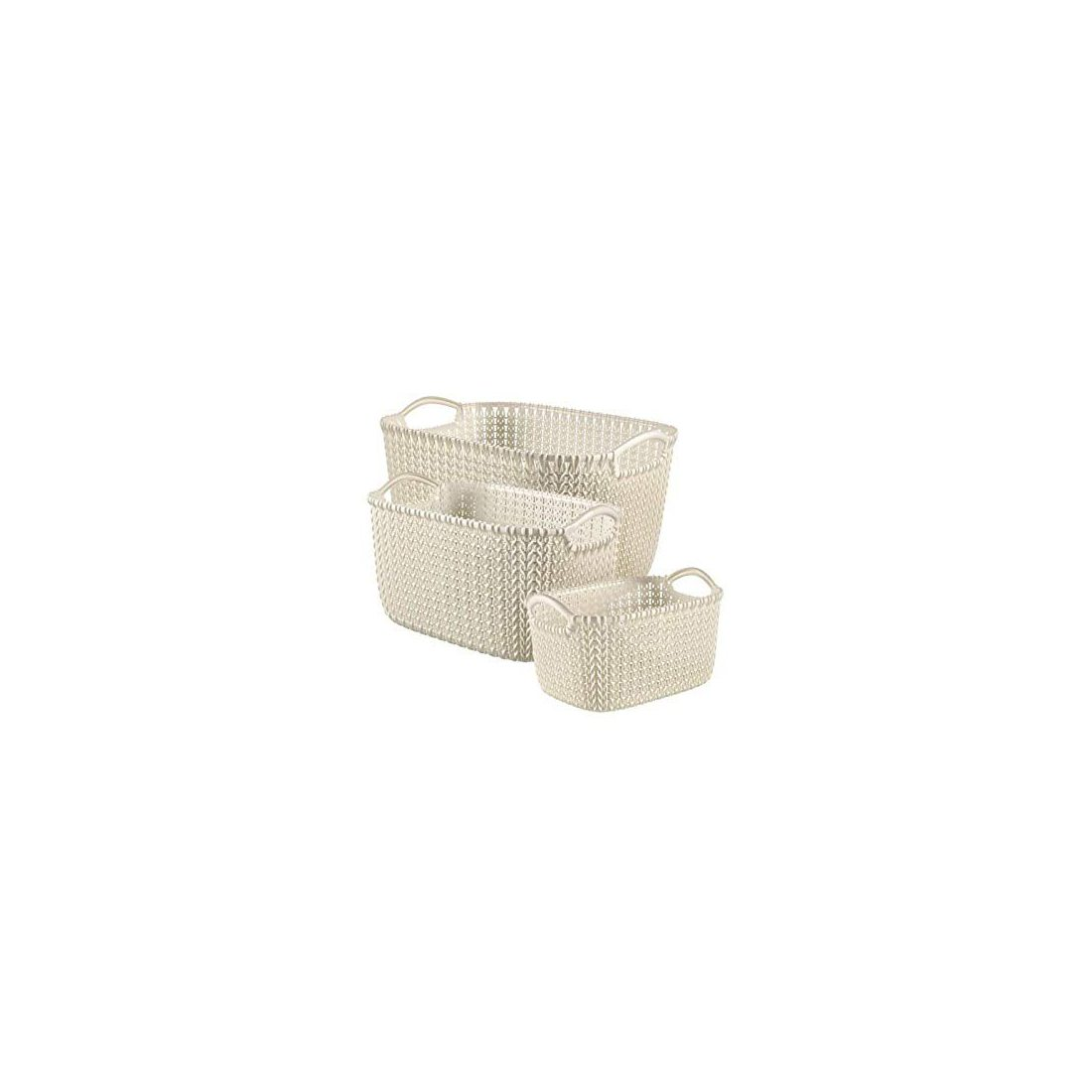 Curver Ensemble de Paniers Knit 3 pcs Blanc Boîte de Rangement Stockage Salon