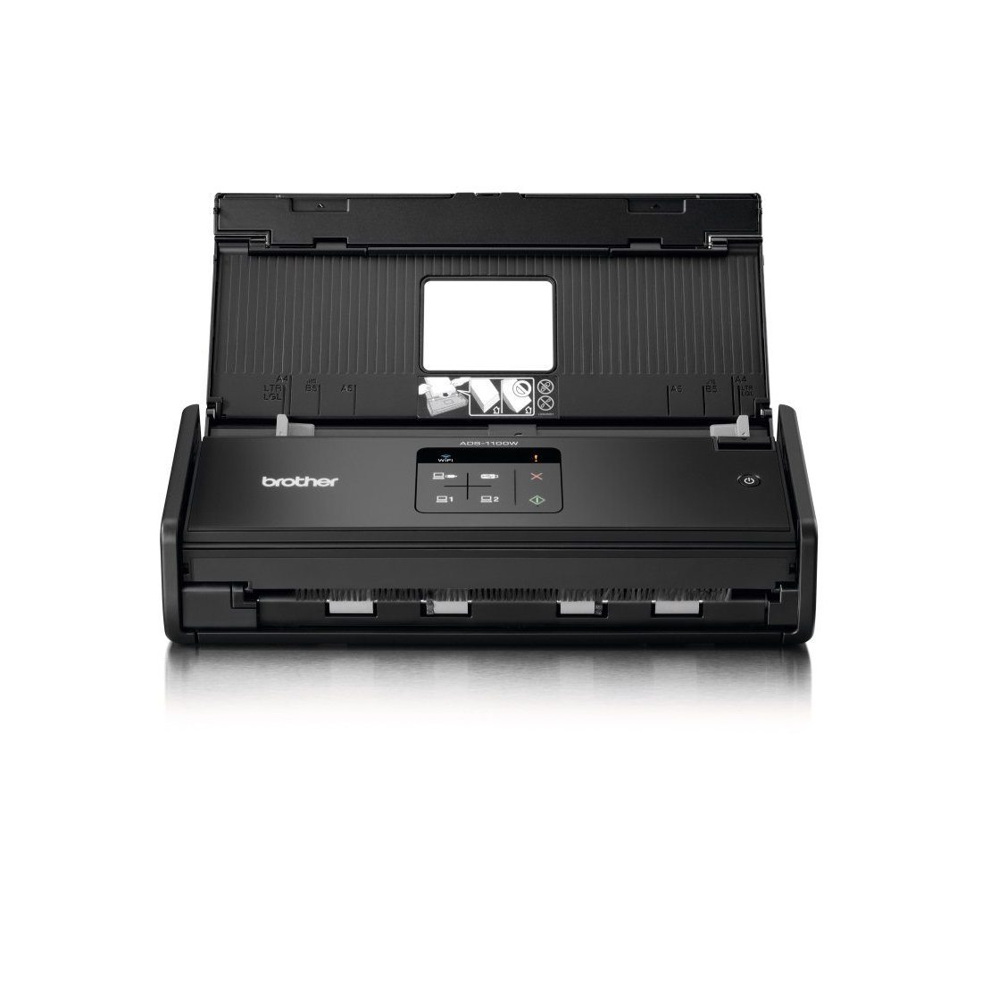 Brother ADS-1100W Scanner Compact |A4 |Recto-Verso |16 ppm|Scan vers Cloud | Wi-Fi | Chargeur 20 feuilles| Couleur | Noir/Bla
