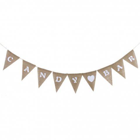 CANDY BAR en Jute Guirlande Bannière Banderole Accessoire Décor de Mariage Anniversaire Baby Shower