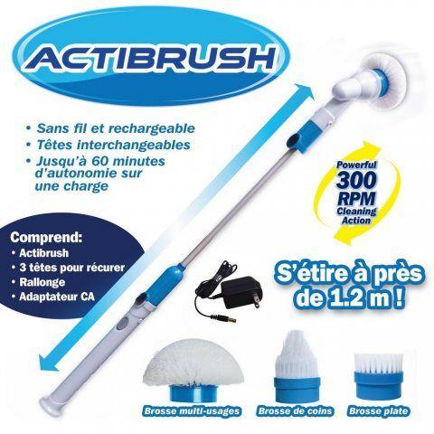 ACTIBRUSH – Brosse à récurer sans fil et rechargeable avec Rallonge et 3 Brosses – Rotation de 300 tours/mn – Désincruste en
