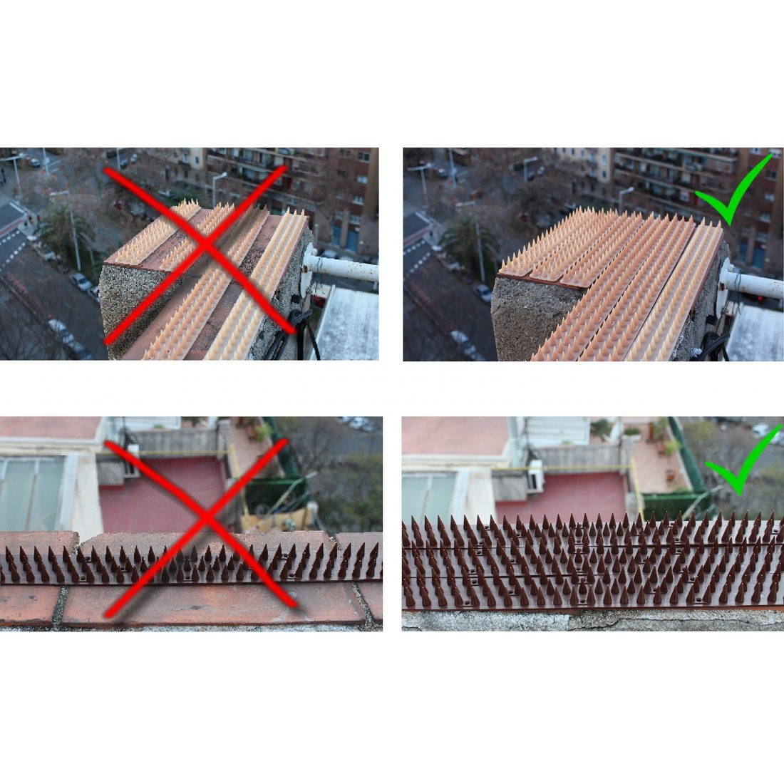 3m pics anti oiseaux et anti chats - 6 pcs de 50cm polypropylène anti UV -Transparente-