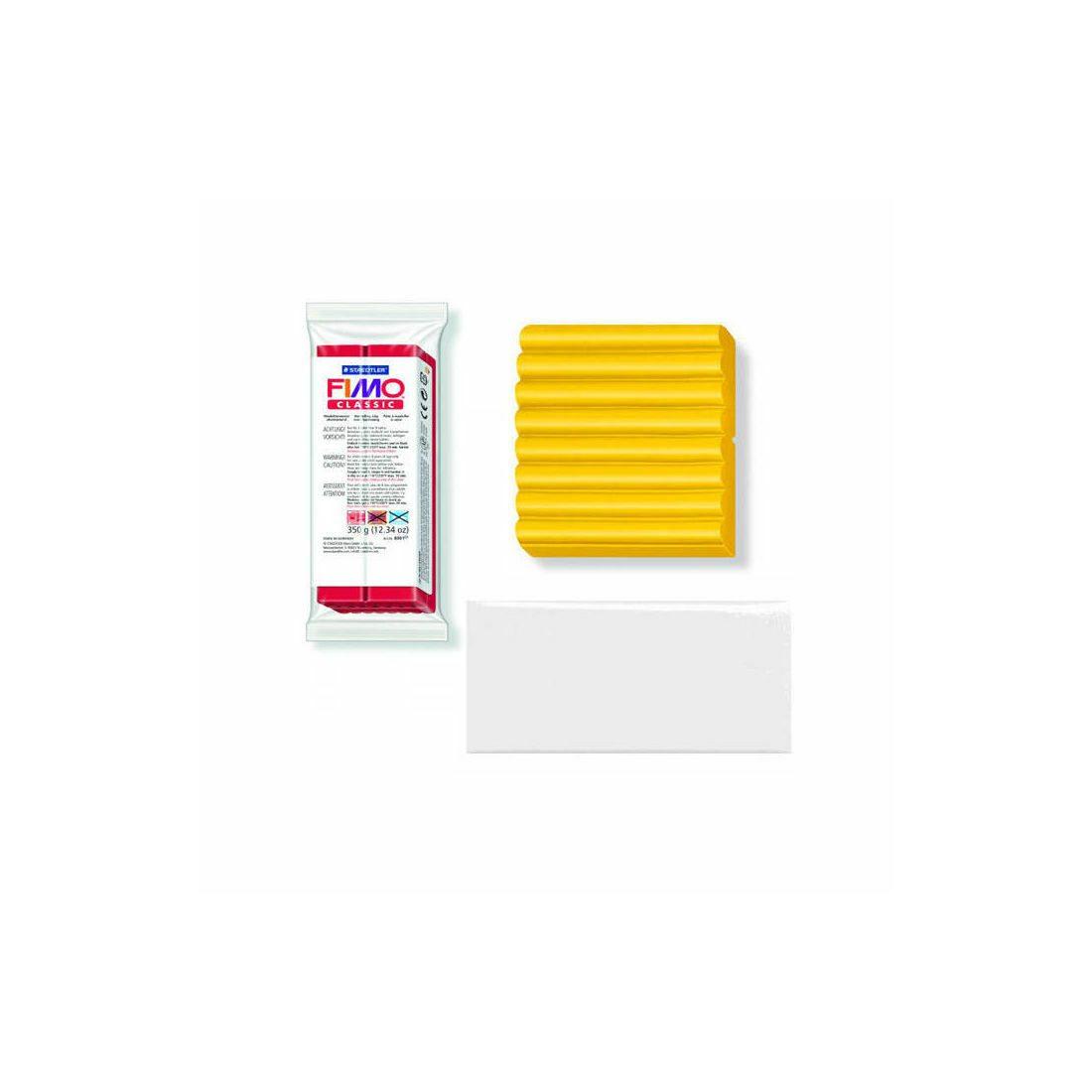 Détails sur  (3,31 € / 100 G) Fimo Soft Basisfarben, Grand Bloc 350g, Blanc