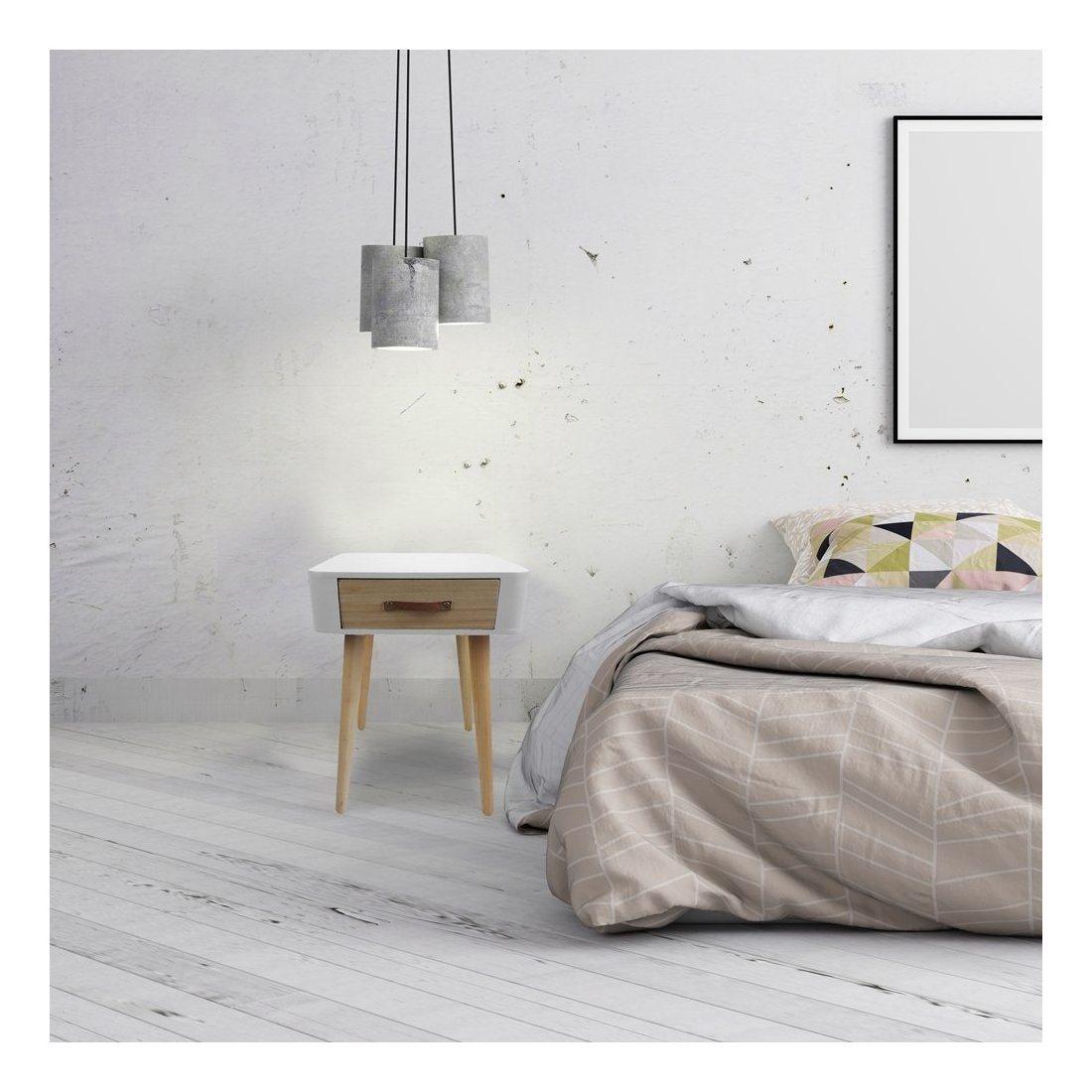the home deco factory hd3739 chevet 1 tiroir en bois mdf blanc 37x37x37 5 cm. Black Bedroom Furniture Sets. Home Design Ideas
