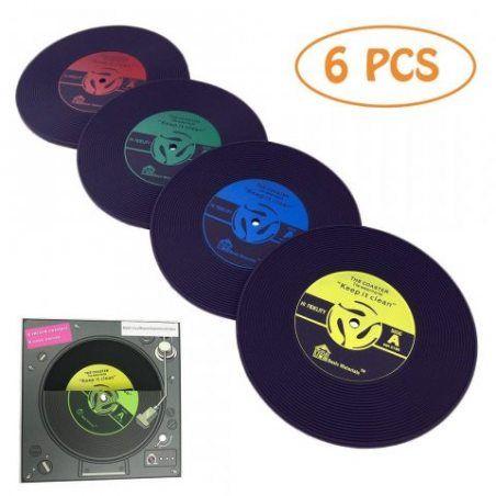 txian Tapis de coupe disque vinyle rétro chic Verre Disquette Musique Classique Style Set de table Lot de 6