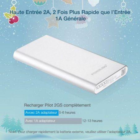 Poweradd Pilot 2GS 10000mAh Grande Capacité Chargeur Batterie Portable de Secours Externe (Apple câble non inclus) - Argent