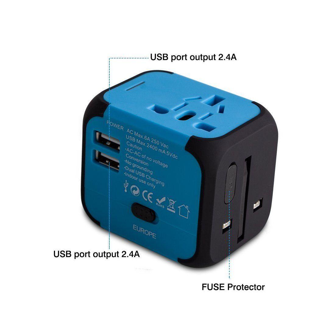 adaptateur de voyage avec 2 usb adaptateur universel pris. Black Bedroom Furniture Sets. Home Design Ideas
