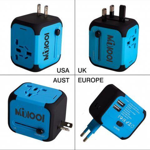 Adaptateur de Voyage avec 2 USB Adaptateur Universel Pris de Courant pour UE/US /UK /AUS Utilisé dans plus de 150 pays Adapta