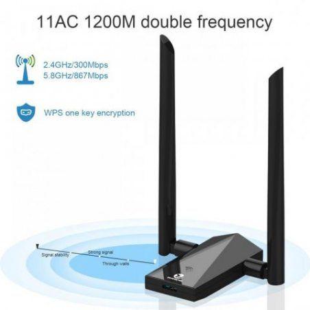 Zoweetek Adaptateur clé wifi AC1200 USB3.0 Double Bande 5.8G/2.4G pour Windows XP/ Vista/ 7/ 8/ 10, Linux, Mac OS