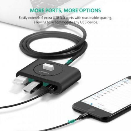 UGREEN Data Hub USB 3.0 Hub 4 Ports SuperSpeed Transfert de Données Jusqu'à 5Gbps avec Câble de 1M Supporte Windows 10/ 8/ 8.