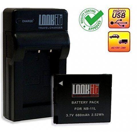 LOOKit® Chargeur + 1x LOOKit Premium NB-11L / NB- 11LH pour Canon ixus 175 IXUS 180 IXUS 285, SX420, Canon IXUS 170 / Canon I