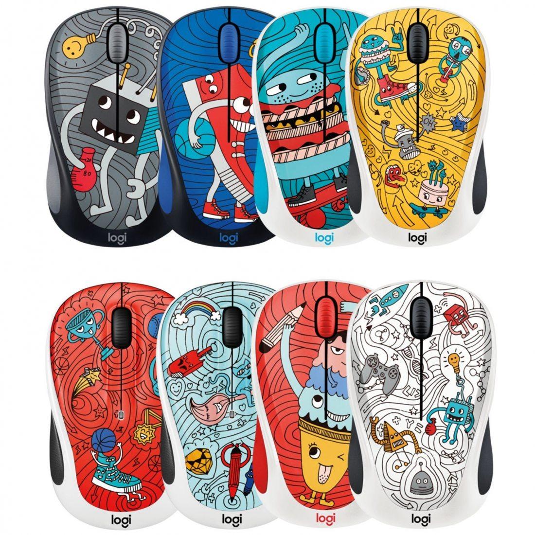 Logitech Souris sans Fil M238 Doodle Collection avec 15 Stickers Premium, Autonomie Batterie de 12 Mois - pour Windows, Mac,
