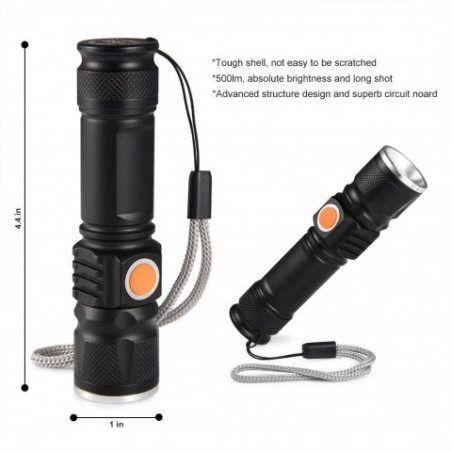 LEDGLE Lampe de Poche Rechargeable 500LM Lampe Torche USB en Alliage d'aluminium avec 3 Modes D'Eclairage, Batterie Lithium I