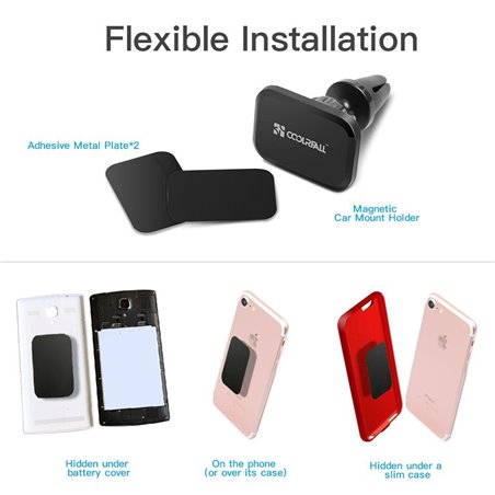 Support Téléphone Voiture,Coolreall Auto Universel Support Téléphone Voiture Magnétique à Grille d'Aération avec Rotation à 3